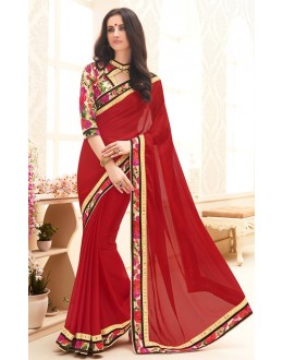 Traditional  Red Chiffon Saree - 71695