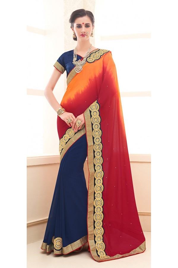 Traditional Multicolour Georgette Saree - 71698