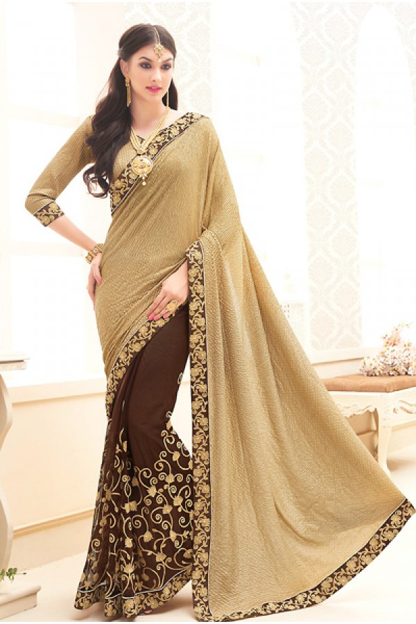 Traditional Beige & Brown Net Saree - 71699