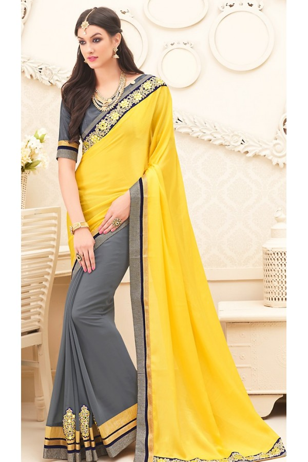 Traditional Yellow & Grey Georgette Saree - 71701