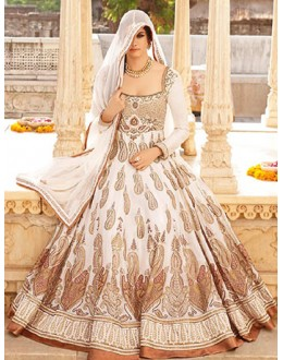 Party Wear Off White  Anarkali Suit - 71789