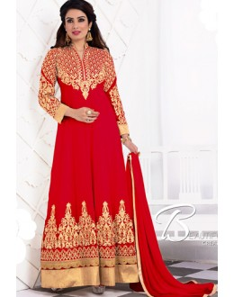 Party Wear Red Georgette Anarkali Suit - 1