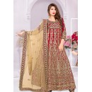 Designer Red & Beige Silk Anarkali Suit - 72031