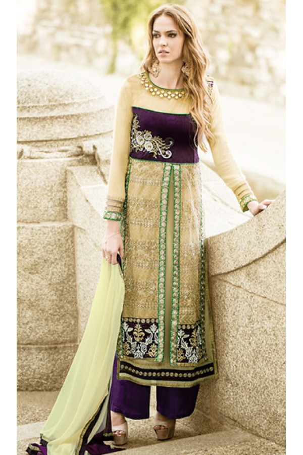 Party Wear Cream & Purple Georgette Palazzo Suit - 72092