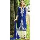 Designer Style Blue & White Georgette Palazzo Suit - 72093