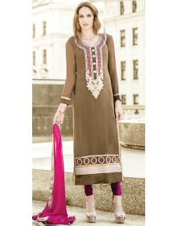 Party Wear Brown & Pink Georgette Salwar Suit - 72094