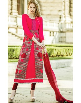 Party Wear Pink & Maroon Georgette Salwar Suit - 72095