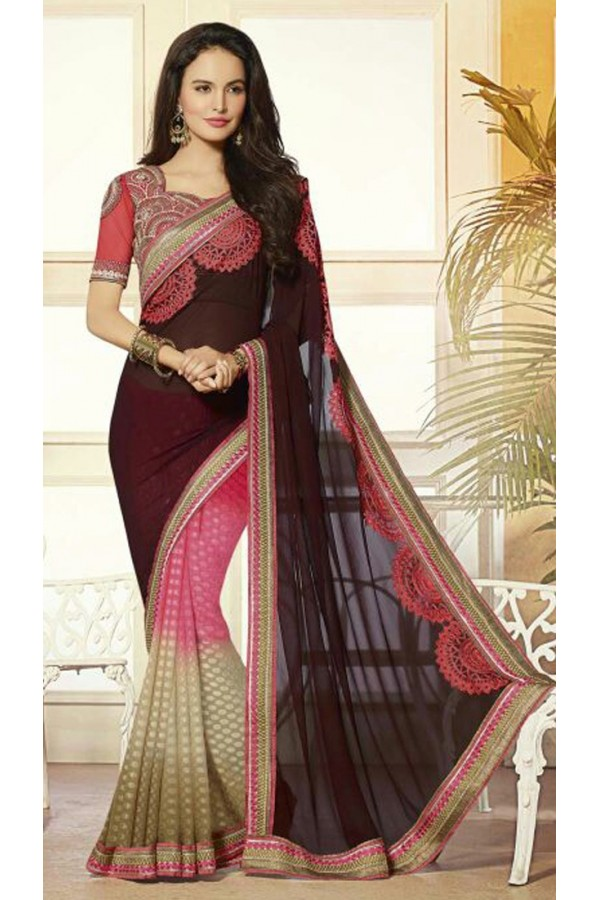 Casual Wear Multicolour Georgette Saree  - 72076