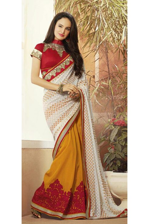 Casual Wear Yellow & Red Georgette Saree  - 72077