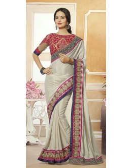 Party Wear Grey & Tan Brown Georgette Saree  - 72078