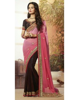 Party Wear Pink & Brown Georgette Saree  - 72079