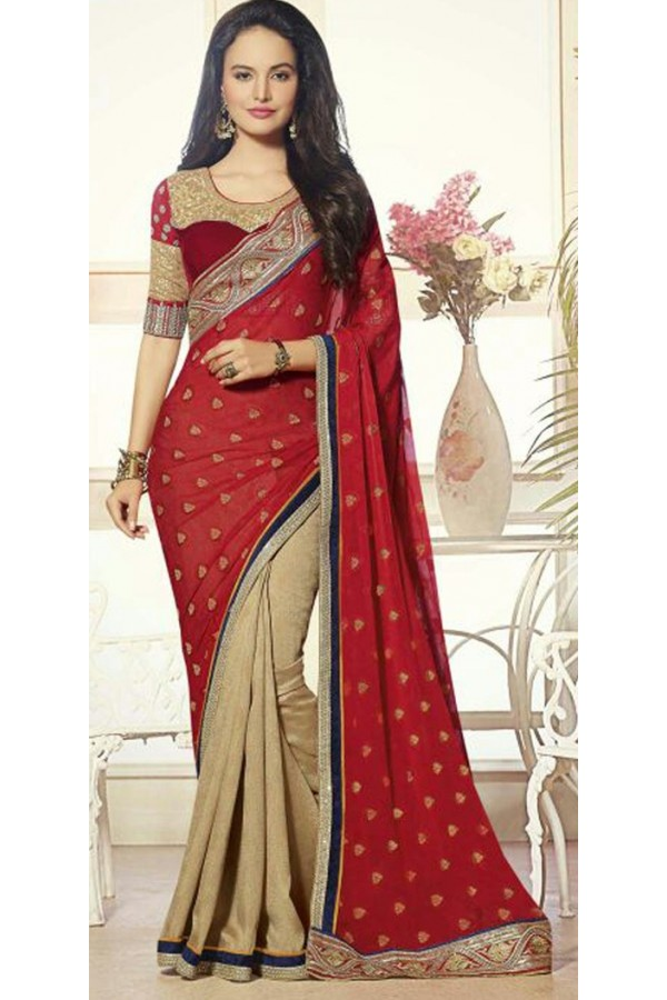 Traditional Red & Beige Georgette Saree  - 72080