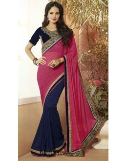 Casual Wear Pink & Navy Blue Georgette Saree  - 72084