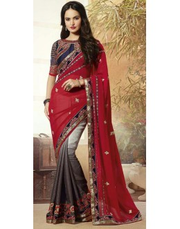 Party Wear Multicolour Georgette Saree  - 72086