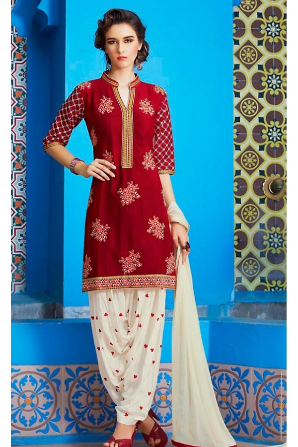 Party Wear Red & Off White Cotton Patiala Suit  - 72127