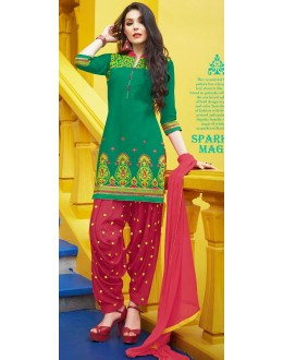 Traditional Green & Red Cotton Patiala Suit  - 72130