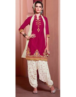 Traditional Violet & Off White Cotton Patiala Suit  - 72131