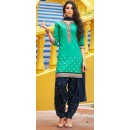 Party Wear Turquoise & Blue Cotton Patiala Suit  - 72133