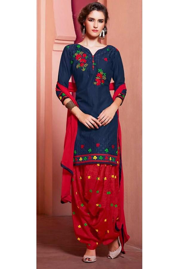 Traditional Navy Blue & Red Cotton Patiala Suit  - 72135
