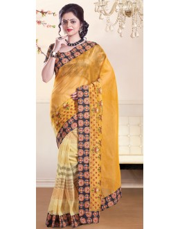 Traditional Yellow Super Net Saree - 72152