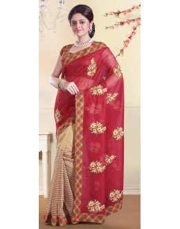 Traditional Multicolour Super Net Saree - 72153