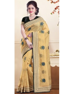 Party Wear Beige & Black Super Net Saree - 72155