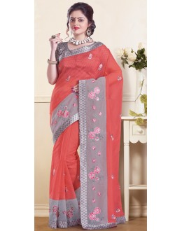 Party Wear Orange & Grey Super Net Saree - 72157