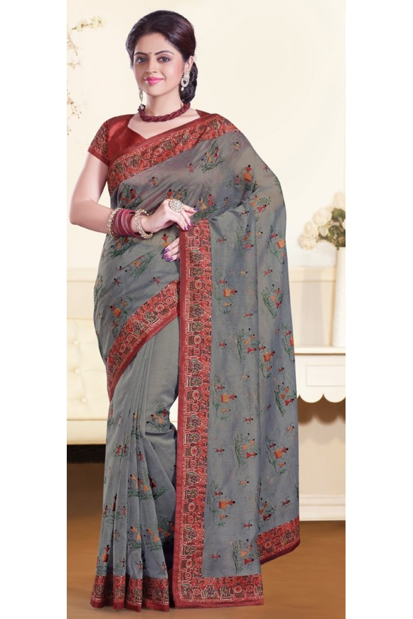 Party Wear Grey & Red Super Net Saree - 72158