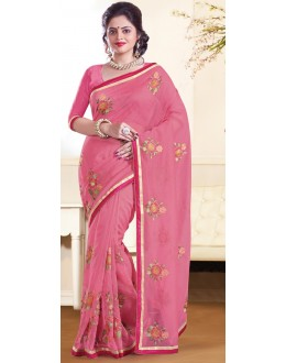 Party Wear Pink Super Net Saree - 72160