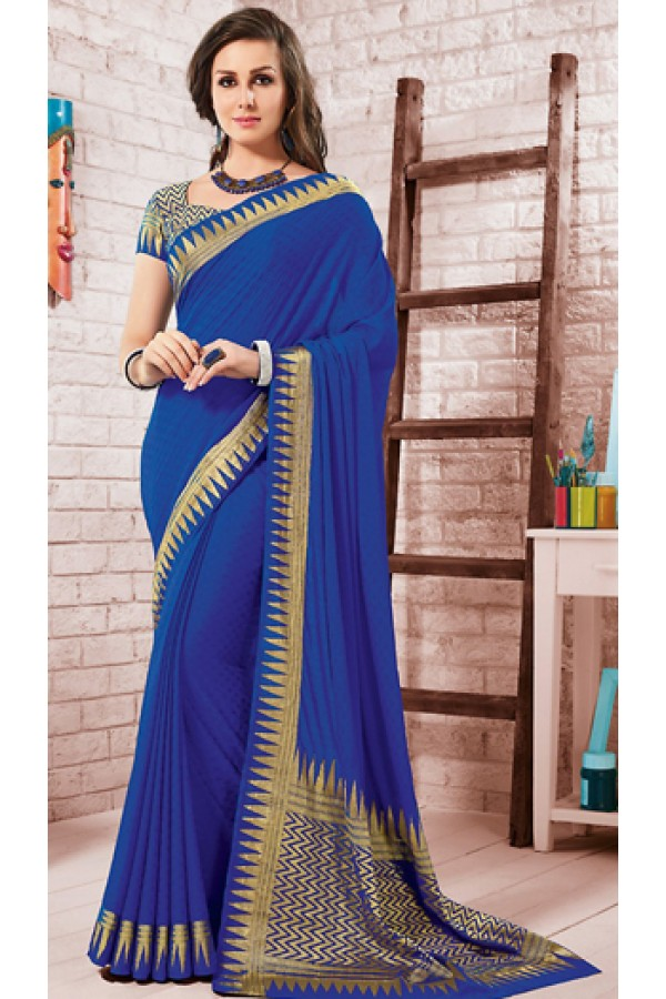Ethnic Wear Royal Blue Crepe Silk Saree - 72163