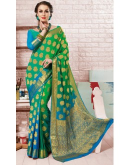 Party Wear Green Crepe Silk Saree - 72167
