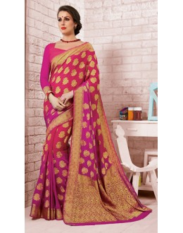 Ethnic Wear Pink Crepe Silk Saree - 72168