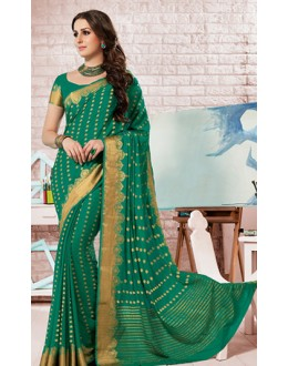 Ethnic Wear Green Crepe Silk Saree - 72169