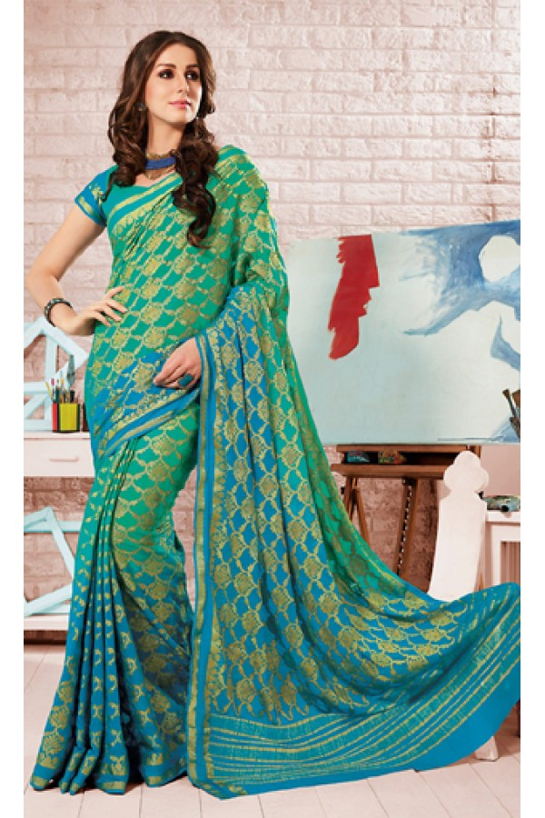 Party Wear Green Crepe Silk Saree - 72172