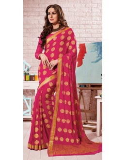 Ethnic Wear Pink Crepe Silk Saree - 72175
