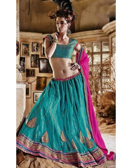 Traditional Turquoise & Pink Lehenga Choli - 72242