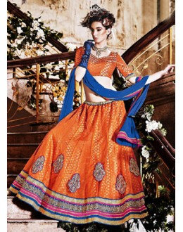 Traditional Orange & Blue Lehenga Choli - 72244