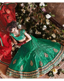 Traditional Green & Maroon Lehenga Choli - 72245