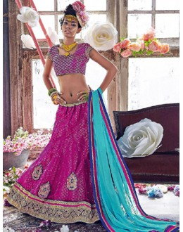 Traditional Pink & Turquoise Lehenga Choli - 72248