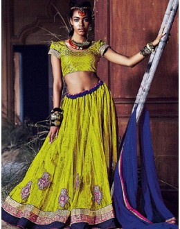 Wedding Wear Green & Blue Lehenga Choli - 72253