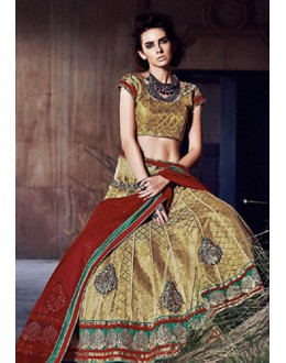 Traditional Tan Brown & Maroon Lehenga Choli - 72256