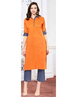 Fancy Readymade Orange Cotton Kurti - 72213