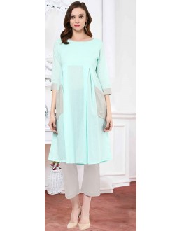 Traditional Readymade Turquoise Cotton Kurti - 72216