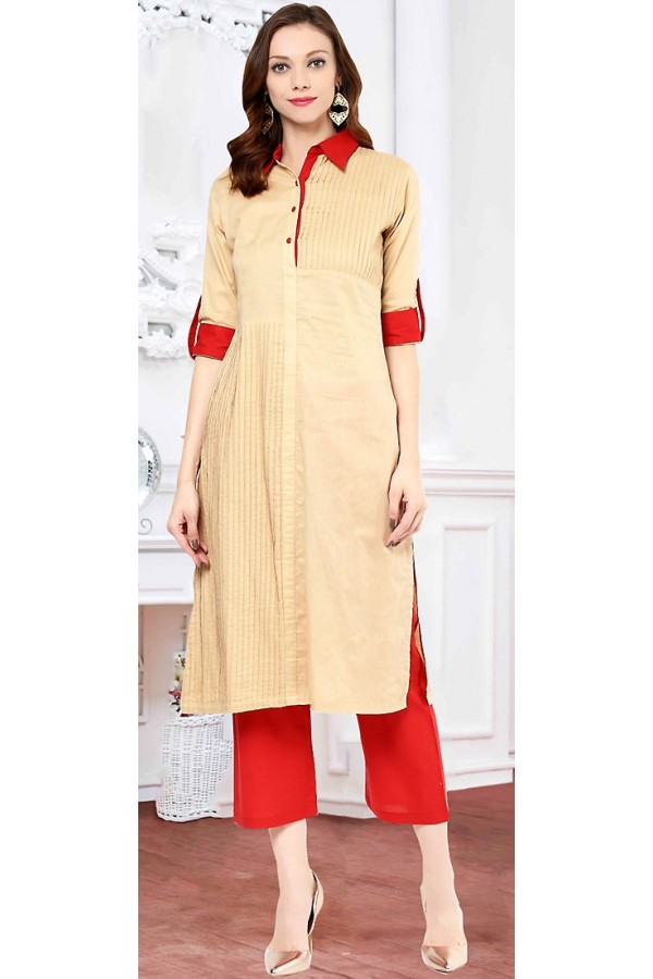 Casual Wear Readymade Tan Brown Cotton Kurti - 72217