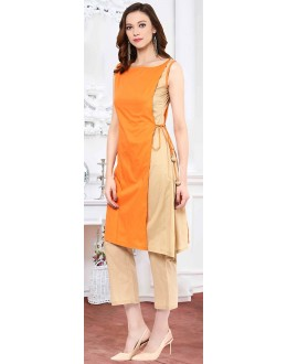 Fancy Readymade Orange Cotton Kurti - 72218
