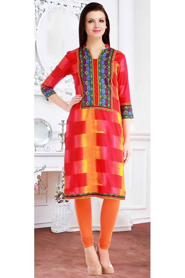 Traditional Readymade Red Cotton Kurti - 72219