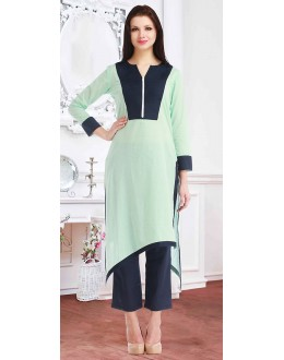 Fancy Readymade Green Cotton Kurti - 72221