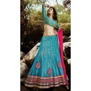 Traditional Sky Blue & Pink Lehenga Choli - 72224