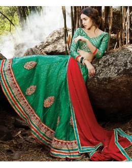 Designer Style Green & Red Lehenga Choli - 72228