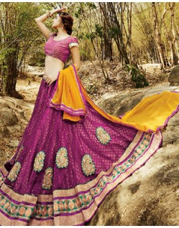 Party Wear Violet & Yellow Lehenga Choli - 72230